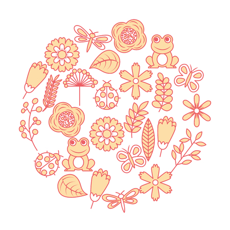 Set of spring theme nature flowers, love birds, butterflies, ladybugs, frogs and dragonfly vector illustration Stock Illustratie