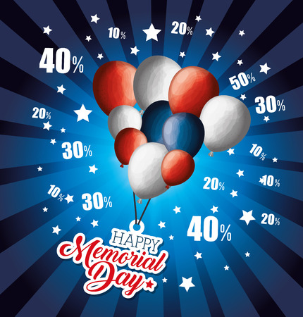 A big sale commercial label with balloons for memorial day vector illustration design
