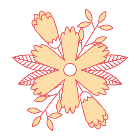 Flower, leaves and branches natural ornament vector illustration