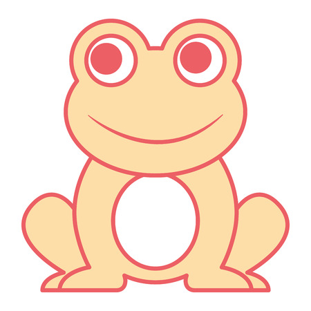 Frog sitting cartoon vector illustration