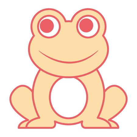 Frog sitting cartoon vector illustration