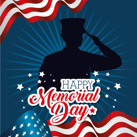 A memorial day card with soldier silhouette vector illustration design