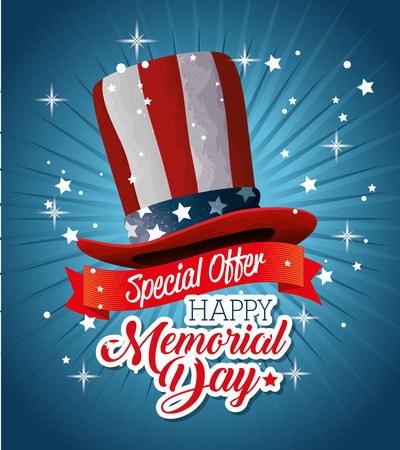 Big sale commercial label with usa hat for memorial day vector illustration design Illustration
