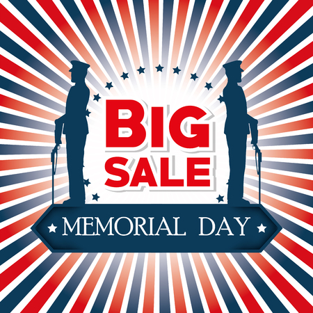 Happy memorial day card with soldiers silhouettes vector illustration design