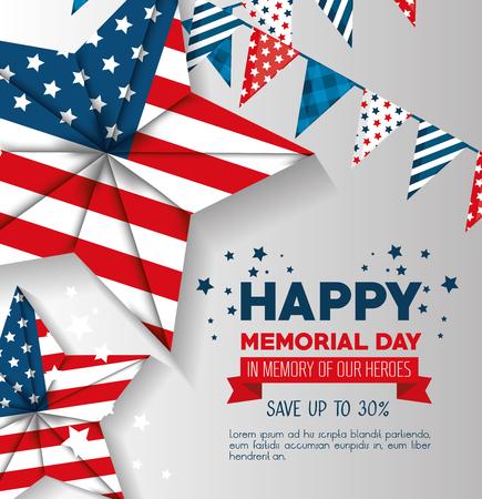 big sale commercial label for memorial day vector illustration design Иллюстрация