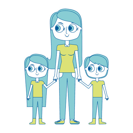 mother and her kids together holding hands vector illustration green image Illusztráció