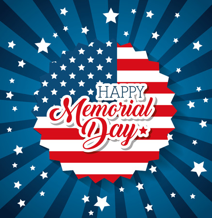 Happy memorial day with flag vector illustration design