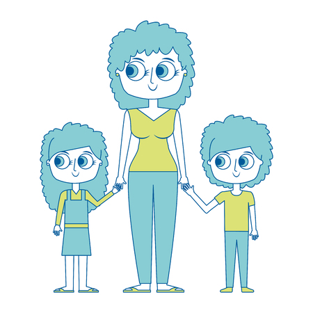 mother and her kids together holding hands vector illustration green image Illustration
