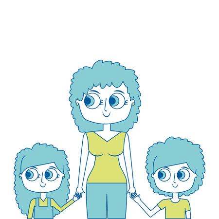 mother and her kids together holding hands portrait vector illustration green image Stock Vector - 97022370