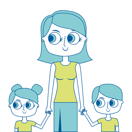 mother and her kids together holding hands portrait vector illustration green image