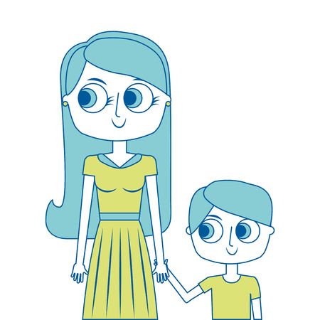 happy mother and her son cartoon portrait vector illustration green image