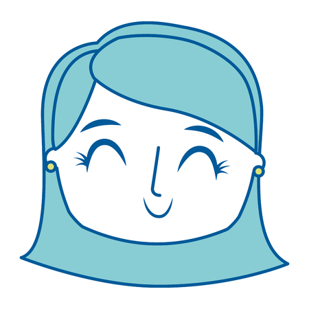 beautiful young teenager happy face girl smiling vector illustration green image Illustration