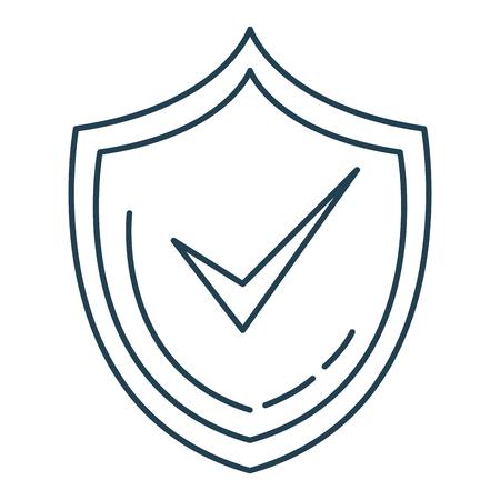 Shield with ok symbol vector illustration design
