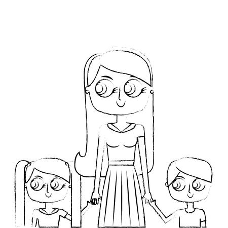 mother and her kids together holding hands portrait vector illustration green image sketch image Illustration