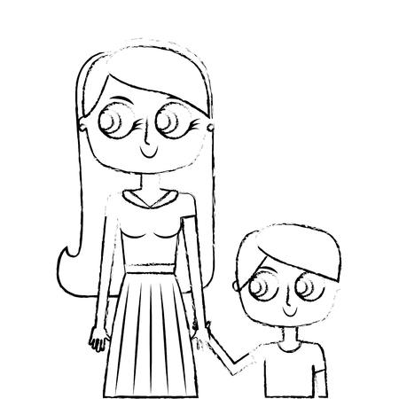 幸せな母と彼女の息子漫画ベクトルイラスト緑の画像スケッチ画像