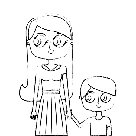 happy mother and her son cartoon vector illustration green image sketch image Ilustração