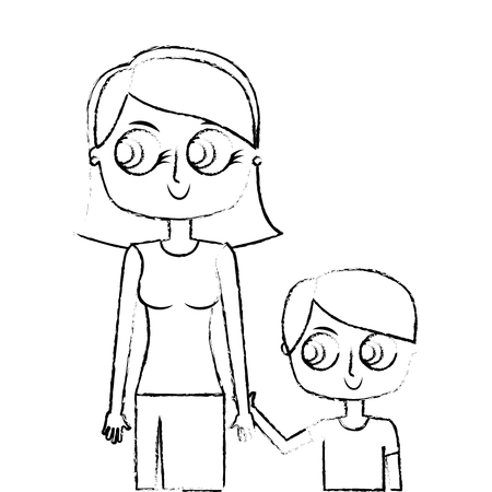 happy mother and her son cartoon vector illustration green image sketch image Illustration
