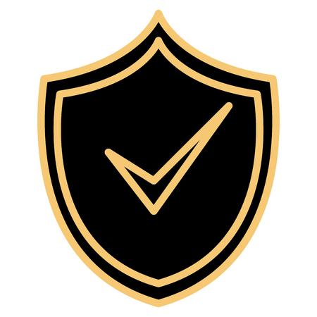 shield with ok check  symbol vector illustration design Illustration