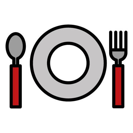 Fourchette et cuillère avec des plats coutellerie illustration vectorielle Banque d'images - 97052745