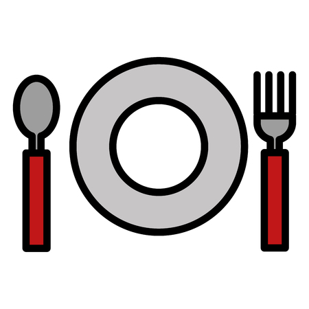 fork and spoon with dish cutlery vector illustration design Illustration