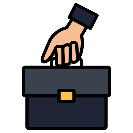 hand with portfolio briefcase isolated icon vector illustration design 일러스트