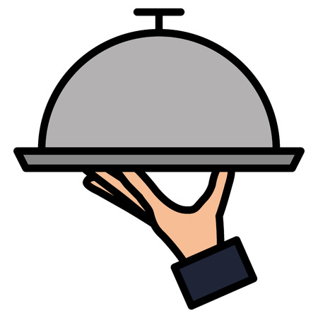 hand with tray server isolated icon vector illustration design 일러스트