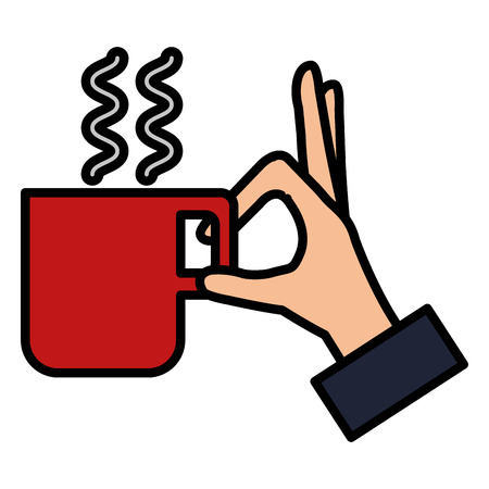 hand with coffee cup isolated icon vector illustration design Illustration