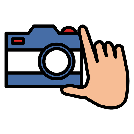 hand with photographic camera vector illustration design