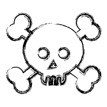 Skull with crossed bones vector illustration design