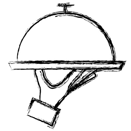 トレイ サーバーの分離アイコン ベクターイラストデザインと手  イラスト・ベクター素材