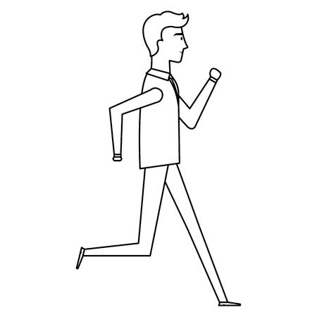 businessman running avatar character vector illustration design
