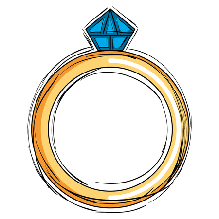 Ring with a diamond icon Illustration