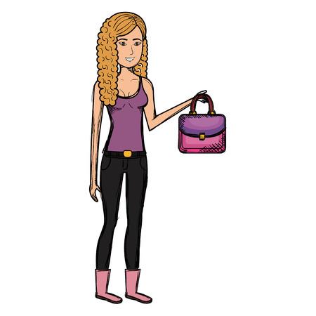 beautiful woman with elegant handbag vector illustration design