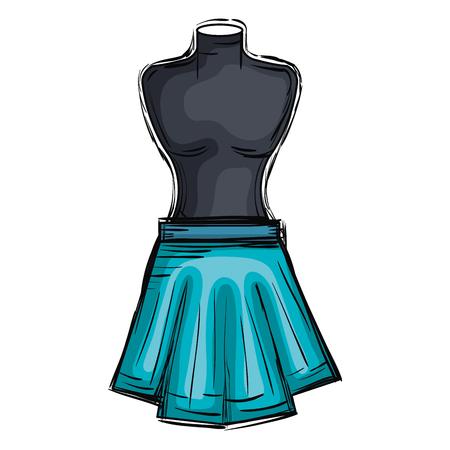 mannequin with miniskirt fashion icon vector illustration design Illustration