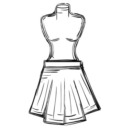 mannequin with miniskirt fashion icon vector illustration design  イラスト・ベクター素材
