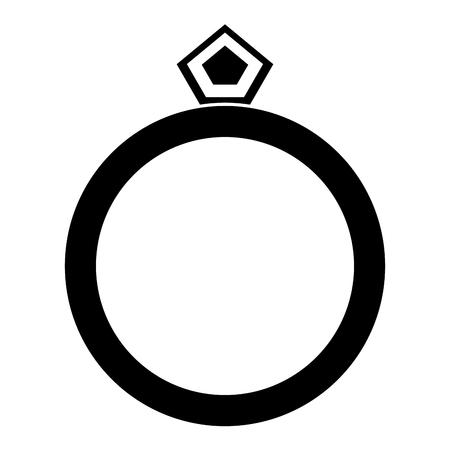 Ring with diamond luxury icon vector illustration design