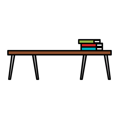 table wooden with pile books vector illustration design