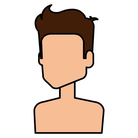 young man shirtless avatar character vector illustration design Stock Vector - 97044429