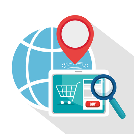 Tablet and global sphere of Logistic transportation and delivery theme Vector illustration Stock Vector - 97044577