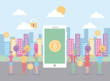 Young people mobile bitcoin business with city background vector illustration