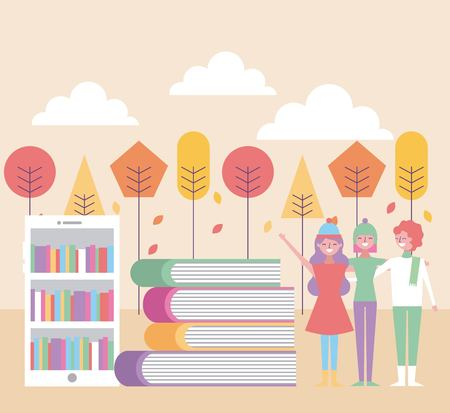 People friends huggings with mobile books and autumn landscape vector illustration Illustration