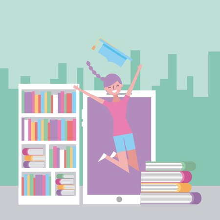 happy young woman jumping with mobile and books in city vector illustration