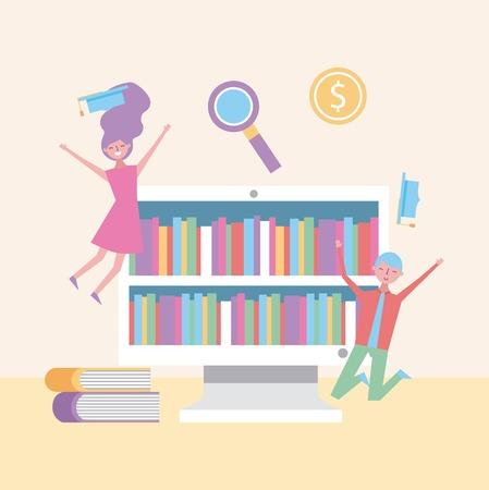 happy students jump enjoy graduation and virtual books vector illustration
