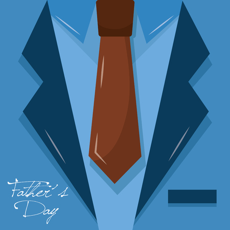 happy fathers day - necktie suit blue card vector illustration