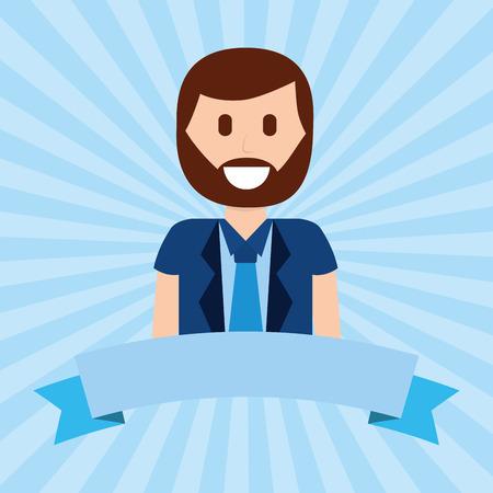 cartoon portrait happy beard man with necktie vector illustration Illusztráció