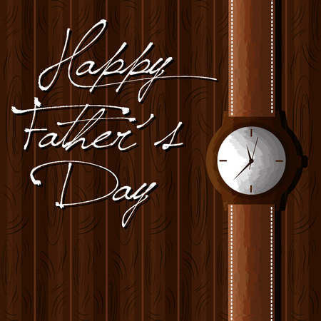 happy fathers day hand written lettering and wrist watch card vector illustration