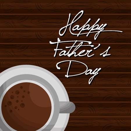 父亲节快乐咖啡杯上木制背景矢量插图