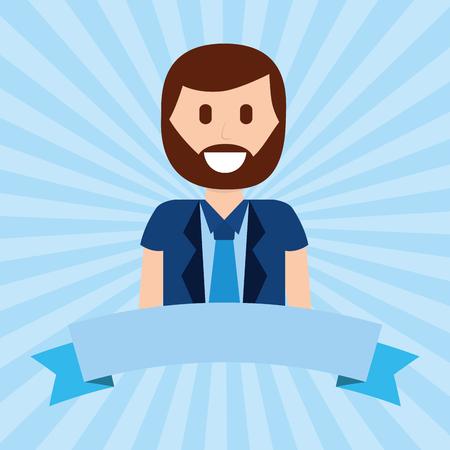 cartoon portrait happy beard man with necktie vector illustration Reklamní fotografie
