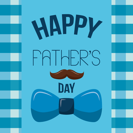 happy fathers day card mustache and bow tie decoration vector illustration Illustration