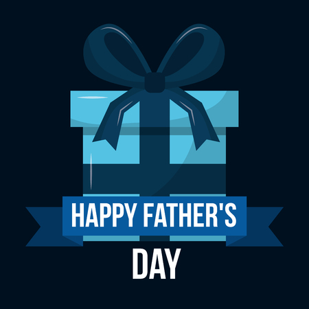 happy fathers day blue wrapped gift box vector illustration